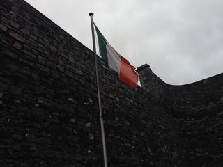 The Tri-Color flag of Ireland flies proudly over the Kilmainham Jail museum. It's actually quite a fascinating story of how it became one of the national symbols of Ireland - if you're into Vexillology.