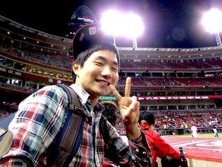 Korean student at Cincinnati Reds game